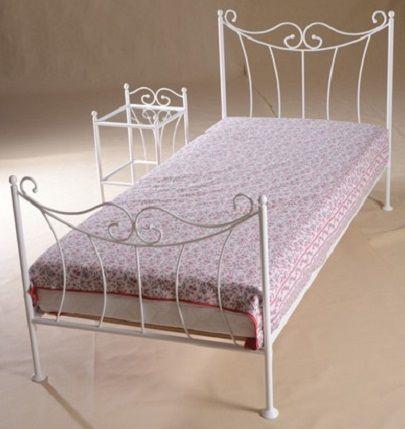 966c9c3133d0 Kovová postel Kornelie 90 x 200 cm - barva bílá - Nábytek.cz